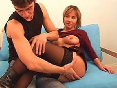 Horny lad strokes his cute girls stockinged legs